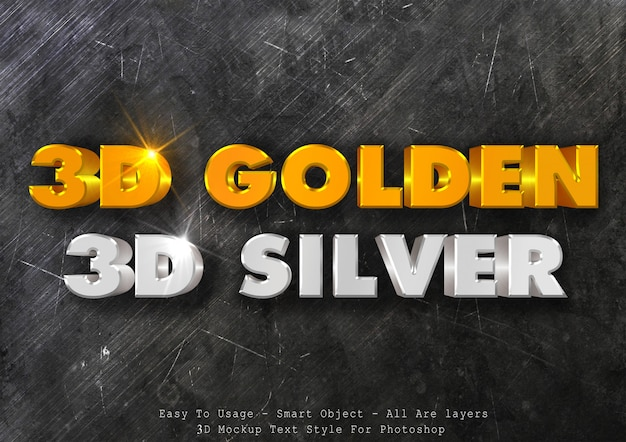 Efecto de estilo de texto de plata dorada 3d parte 2