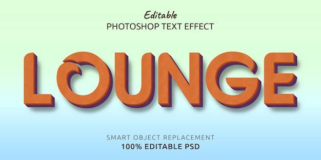 Efecto de estilo de texto psd editable lounge