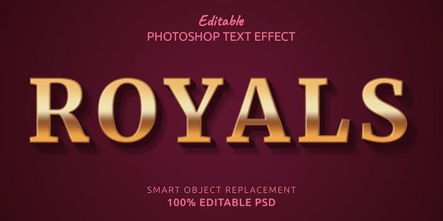 Efecto de estilo de texto psd editable royals
