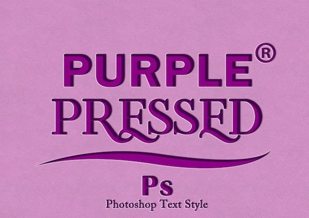 Efecto de estilo de texto púrpura 3d