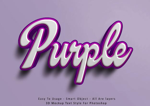 Efecto de estilo de texto púrpura de maqueta 3d
