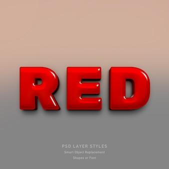Efecto de estilo de texto rojo 3d para fuente