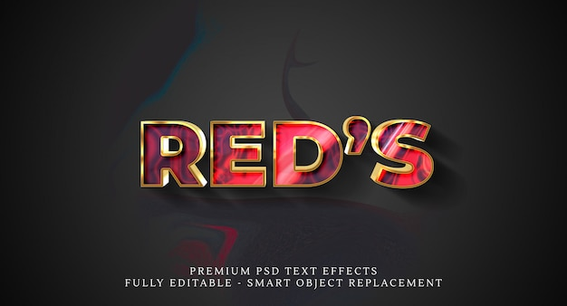 Efecto de estilo de texto rojo psd, efectos de texto psd