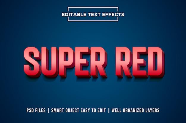 Efecto de estilo de texto súper rojo 3d psd premium