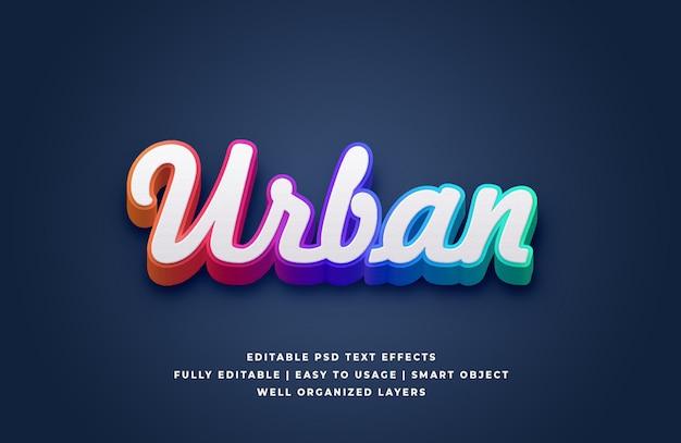 Efecto de estilo de texto urbano degradado blanco 3d