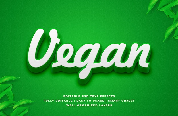 Efecto de estilo de texto vegano 3d