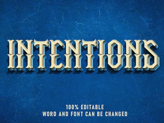 Efecto de estilo de texto vintage color azul con estilo grunge retro