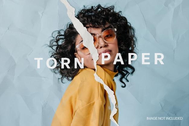 Efecto de foto rasgado con bordes de papel rasgados