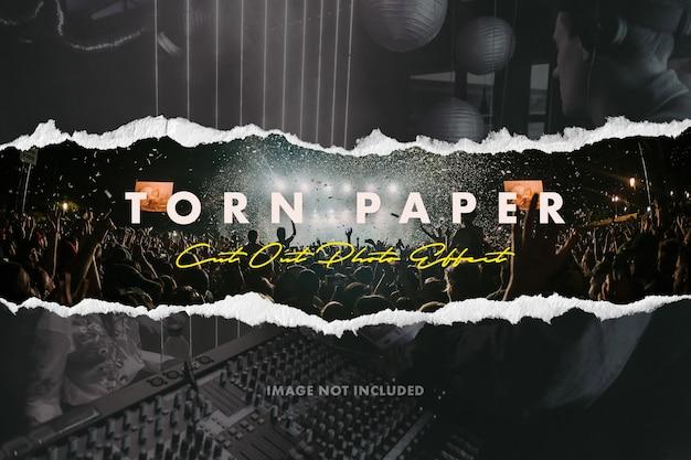 Efecto de foto de recorte de papel rasgado