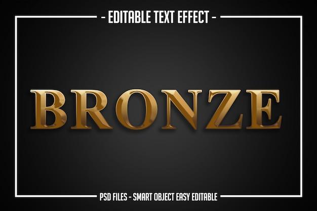 Efecto de fuente editable de estilo de texto de bronce de lujo