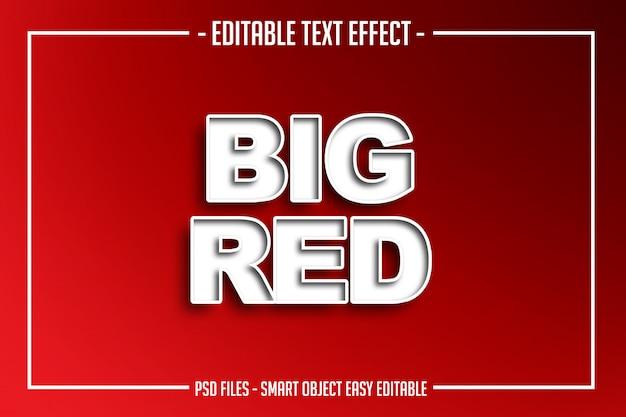 Efecto de fuente editable de estilo de texto rojo grande