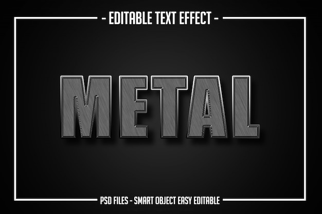 Efecto de fuente editable de estilo de texto de textura de metal 3d