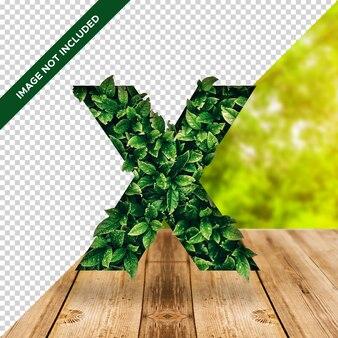 Efecto hoja 3d alfabeto x con fondo transparente