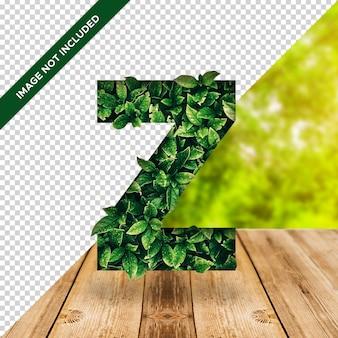Efecto hoja 3d alfabeto z con fondo transparente