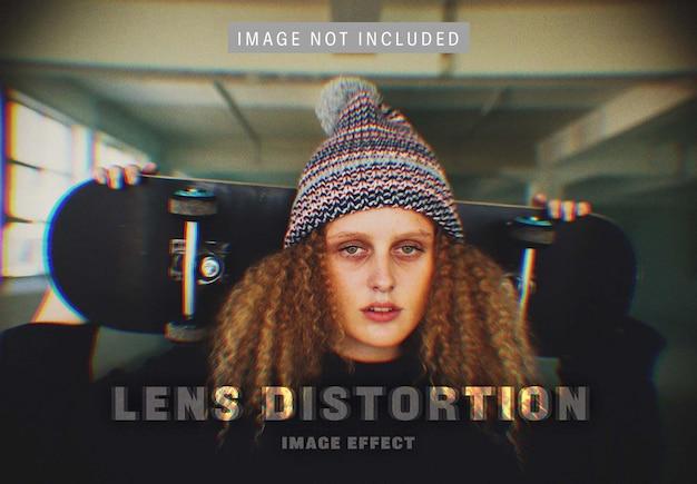 Efecto de imagen de distorsión de la lente