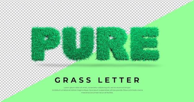 Efecto de letra pura con plantilla de hierba