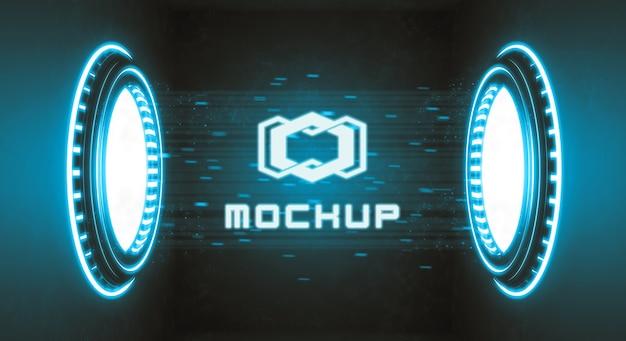 Efecto de logotipo futurista renderizado en 3d PSD gratuito