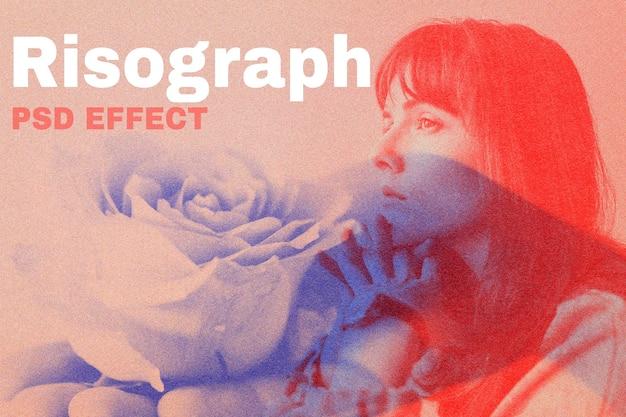 Efecto psd risograph, complemento de photoshop, medios remezclados