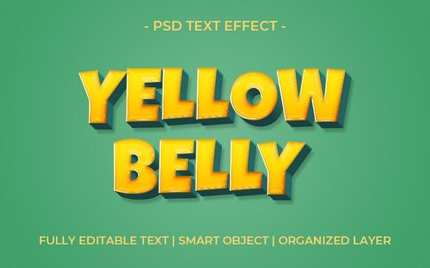 Efecto de texto en 3d amarillo negrita