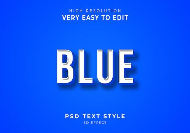 Efecto de texto 3d azul