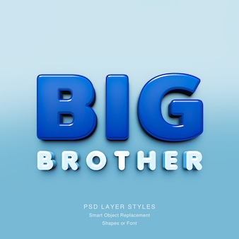 Efecto de texto 3d de big brother