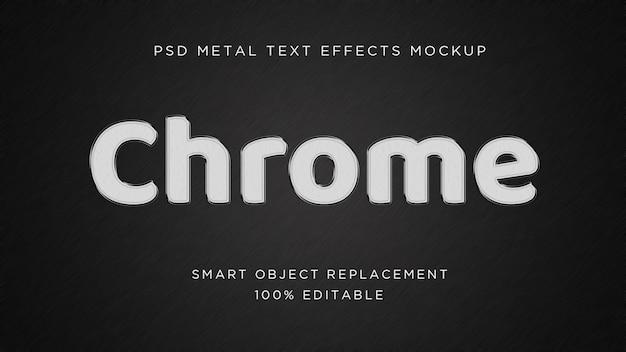 Efecto de texto 3d de chrome metal