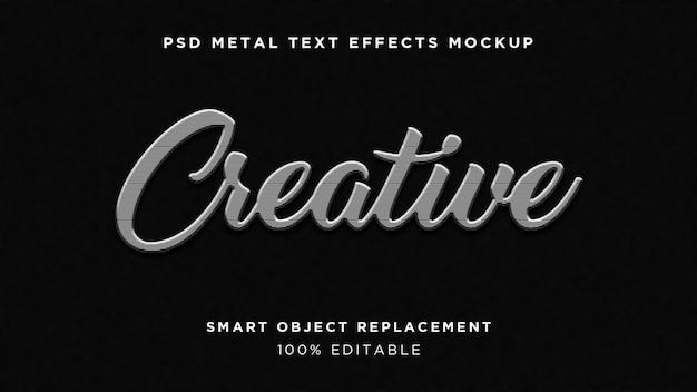 Efecto de texto 3d creative line metal
