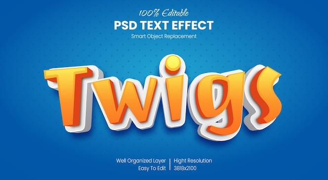 Efecto de texto 3d de dibujos animados estilo infantil