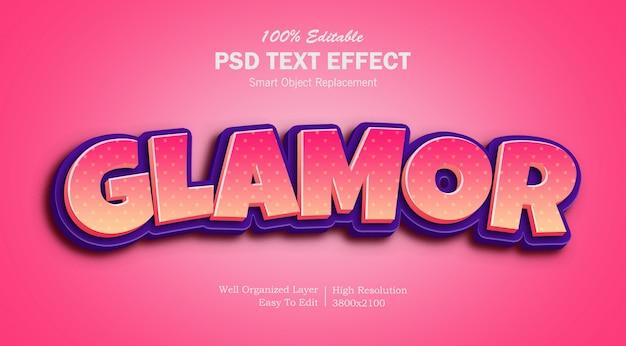 Efecto de texto 3d glamour pink