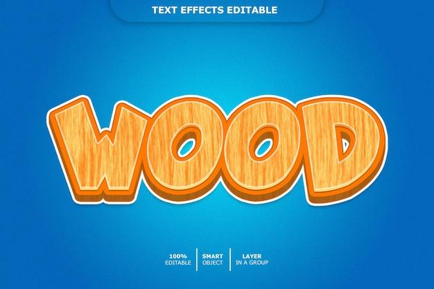 Efecto de texto 3d de madera editable