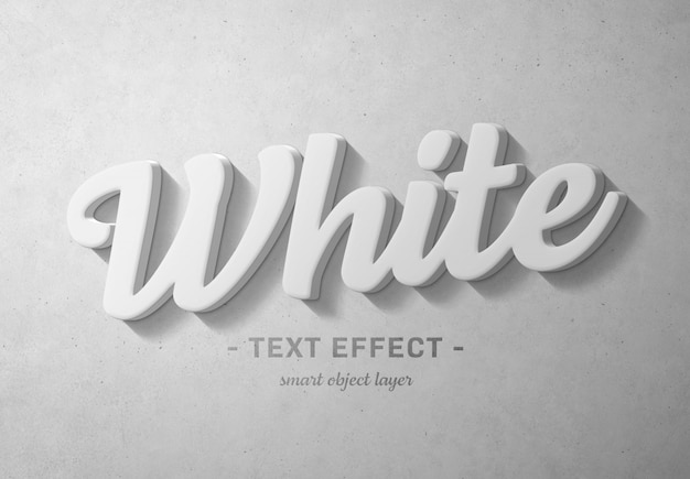 Efecto de texto 3d en negrita blanco