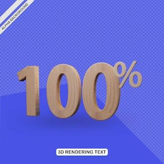 Efecto de texto 3d render de 100 por ciento de descuento