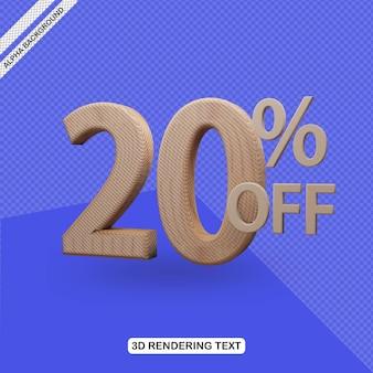 Efecto de texto 3d render del 20 por ciento de descuento