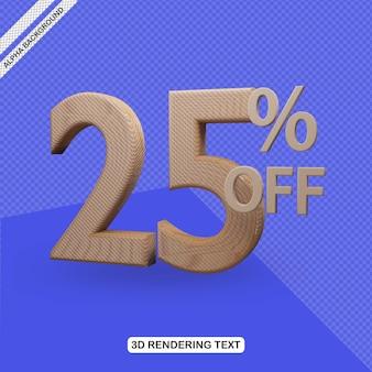 Efecto de texto 3d render del 25 por ciento de descuento