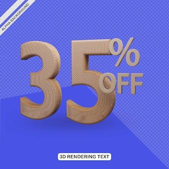Efecto de texto 3d render de 35 por ciento de descuento