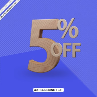 Efecto de texto 3d render del 5 por ciento de descuento