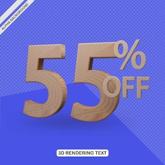 Efecto de texto 3d render 55 por ciento de descuento