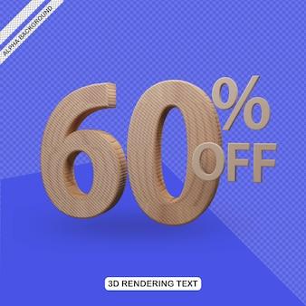 Efecto de texto 3d render de 60 por ciento de descuento