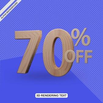Efecto de texto 3d render de 70 por ciento de descuento