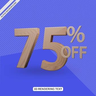 Efecto de texto 3d render de 75 por ciento de descuento
