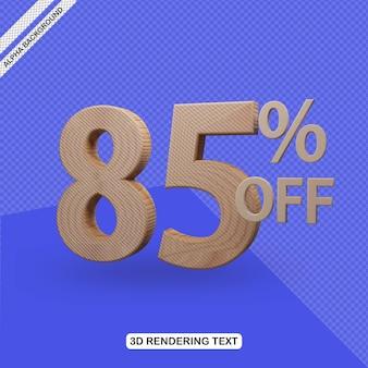 Efecto de texto 3d render de 85 por ciento de descuento