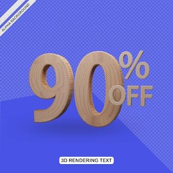 Efecto de texto 3d render de 90 por ciento de descuento