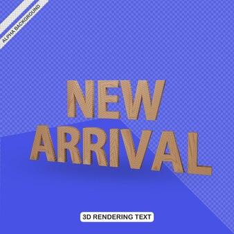 Efecto de texto 3d render de nueva llegada