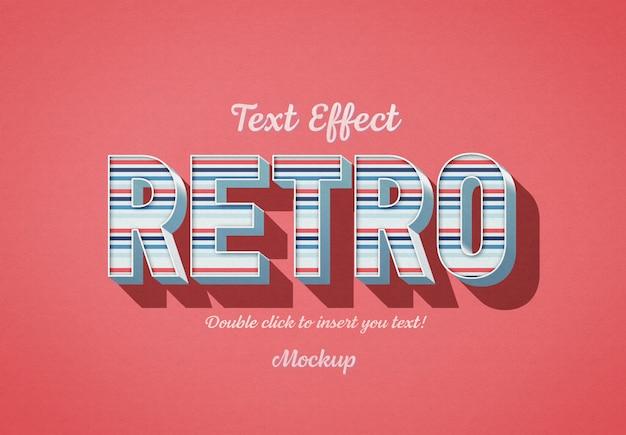 Efecto de texto 3d retro con rayas azules y rojas