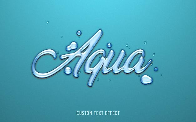 Efecto de texto de agua aqua 3d
