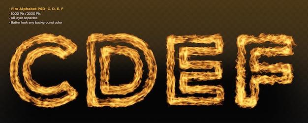 Efecto de texto de alfabeto de fuego realístico
