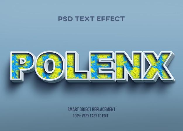 Efecto de texto amarillo y azul de textura abstracta 3d