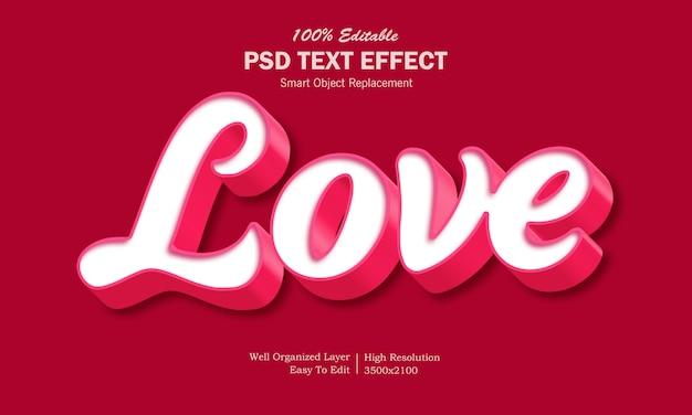 Efecto de texto de amor 3d
