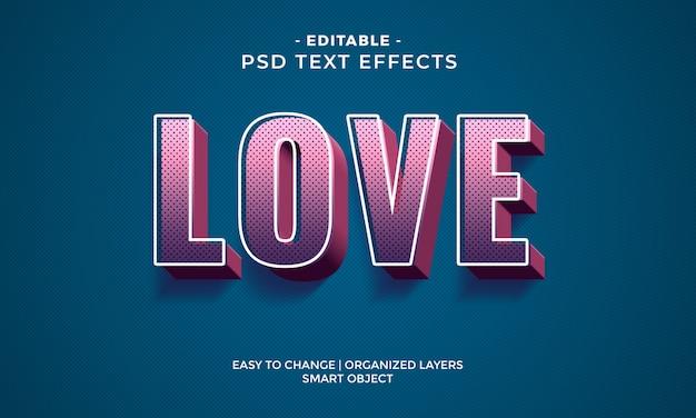 Efecto de texto de amor colorido moderno