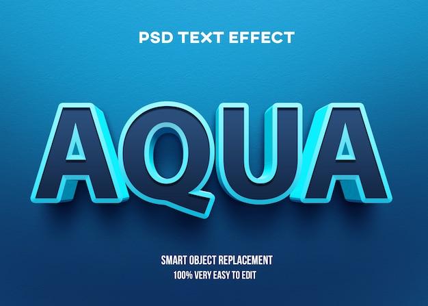 Efecto de texto aqua negrita 3d